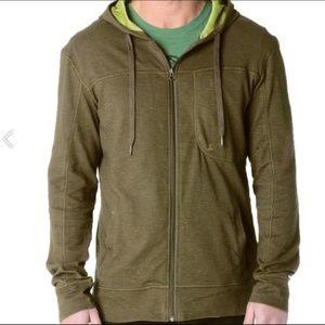 PrAna Breathe hooded full zip sweater olive/brown